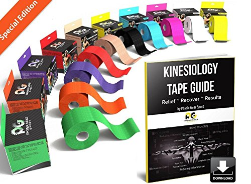 Spider Body (Physix Gear Sport Kinesiology Tape - Free Illustrated E-Guide - 16ft Uncut Roll - Best Pain Relief Adhesive for Muscles, Shin Splints Knee & Shoulder - 24/7 Waterproof Therapeutic Aid (1PK ORG))