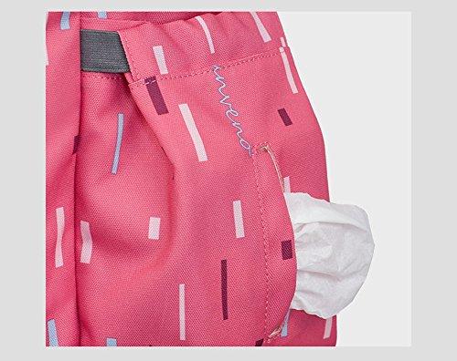 Bolso de la madre de los hombros de la capacidad grande de múltiples funciones, bolso de la momia, bolso del bebé de la madre, bolso de la momia de la manera, va morral ( Color : Negro ) Rosa Roja