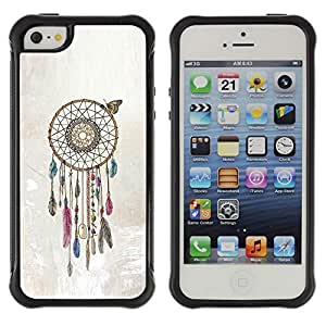 WAWU Rugged Armor Slim Protection Case Cover Shell -- dream catcher beige American art native -- Apple Iphone 5 / 5S