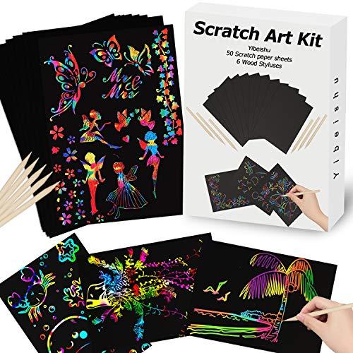스크래치 종이 예술로 설정한 아이는 레인보우 매직 스크래치 종이 블랙 스크래치 시트 노트 카드가 보드 낙서 패드 아이들의 예술 및 공예 프로젝트 키트를 위한 여자가 남자 성인 생 크리스마스 선물