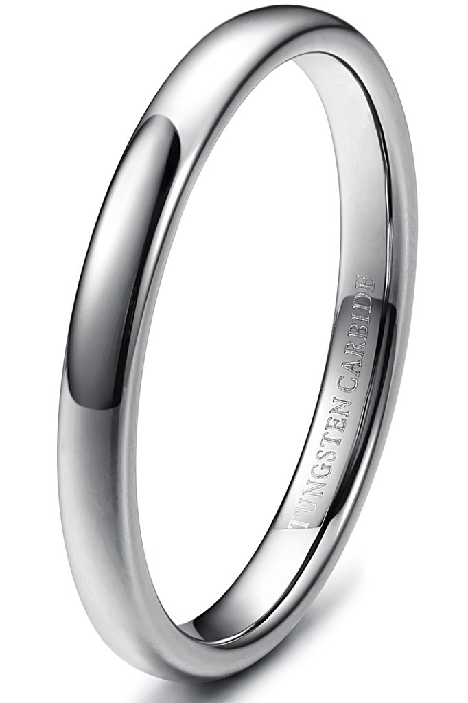 Tungary 3mm Mens Womens Tungsten Carbide Wedding Band Rings Engagement Promise Domed Size 4.5 by Tungary