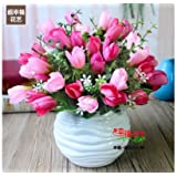SituMi Artificial Fake Flowers Home DecorationWedding Bouquet Kit,Red Tulips