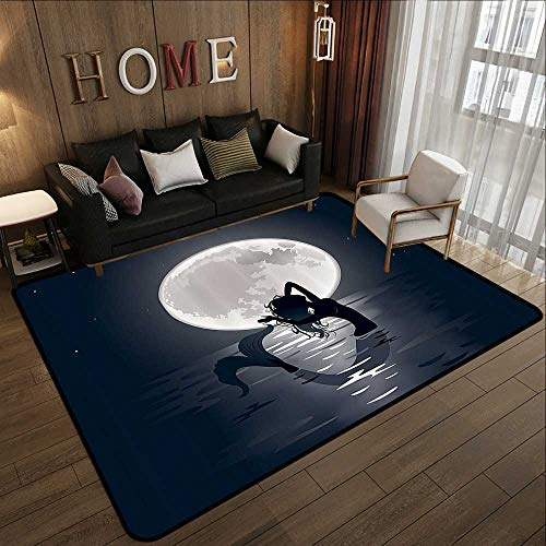 Rugs for Bedroom,Mermaid Decor,Mermaid Singing at Night Silhouette Full Moon Lights Mythical Ornament 59