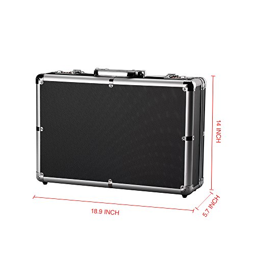 034b1515b4c Aluminum Hard Case Foam Black Briefcase ToolBox Carrying Case Portable Tool  Case by Bory (Image