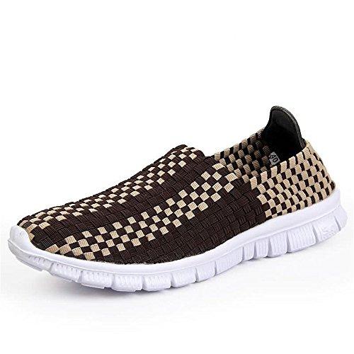 de Color tamaño Sneaker Tira Slip Shufang Splice 41 On EU Vamp Zapatillas de atléticos 2018 shoes la Hombre Marrón Leisure los Hombres para Azul de Modelo Zapatos Moda la xg6ABqx