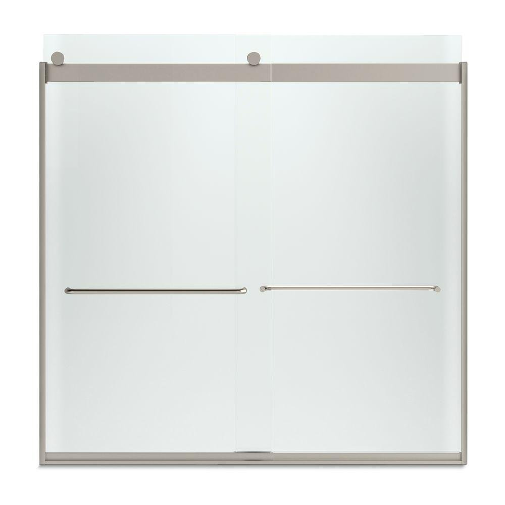 KOHLER K-706006-D3-MX Levity  Bypass Bath Door with Towel Bar and 1/4-Inch  Frosted Glass in Matte Nickel