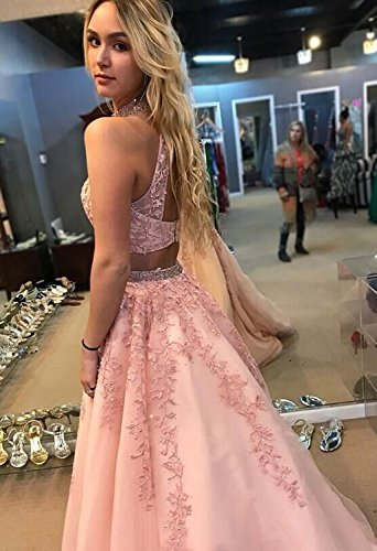 BRL MALL Dresses Pieces Two Prom Line Pink High A Neck Women's rTxZ1wrdq