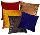 Amazon Sale - Belive-Me Velvet Multicolor Cushion Covers Set of 5 (16x16 Inches / 40x40 cms)