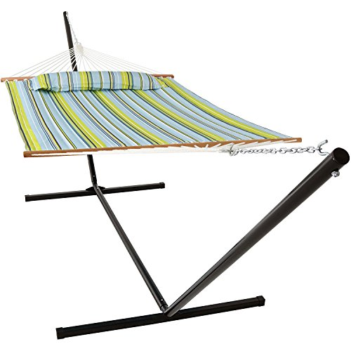 (Sunnydaze 2 Person Double Hammock with 15 Foot Portable Steel Stand & Spreader Bar, Quilted Fabric Bed, Blue & Green)