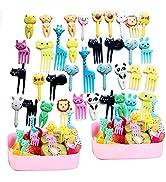 40 Pcs Animal Food Picks for Kids, Cute Cartoon Animal Fruit Food Toothpicks,Reusable Lunch Picks...