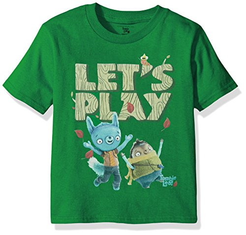 Amazon Original Series Little Boys' Toddler Tumble Leaf Short Sleeve T-Shirt, Kelly Green, 4T