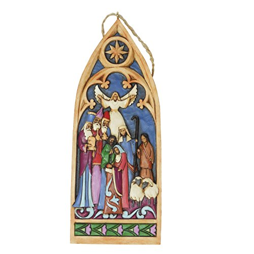 Jim Shore Heartwood Creek Cathedral Window Nativity Stone Resin Hanging Ornament, - Window Nativity