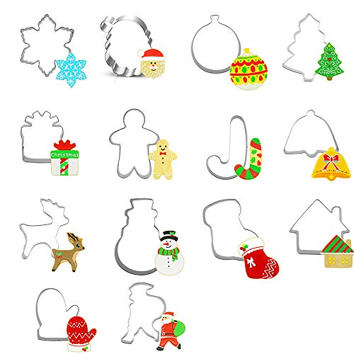Christmas Cookie Cutter - 14 pcs Stainless Steel Holidays Shape Santa Claus Bells Snowflake, Christmas Tree, Candy Cane, Reindeer Cookies Molds for Making Muffins Biscuits,Sandwiches Christmas Gift