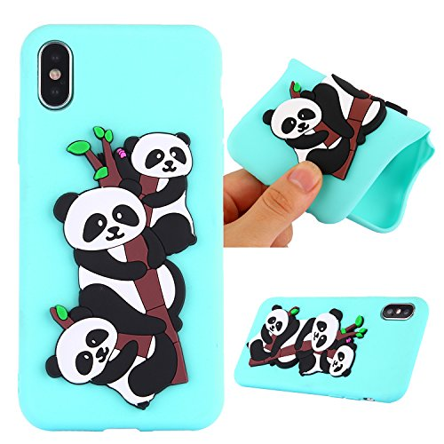 Funda para Apple iPhone X , IJIA Puro Rosa Adorable Panda TPU Silicona Suave Cover Tapa Caso Parachoques Carcasa Cubierta Teléfono De Vuelta Shell Case para Apple iPhone X (5.8) Green