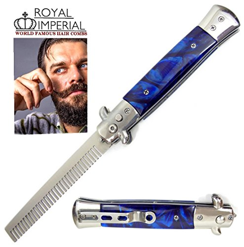 Royal Imperial Metal Switchblade Pocket Folding Flick Hair Comb For Beard  Mustache  Head Blue Cyclone Handle   Includes Beard Fact Wallet Book   Nicer Than Butterfly Knife Trainer