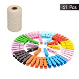 HIbuy Colored Wood Clothespins and Natural Jute Twine Set, Gift Twine Durable Packing String, Mini Wooden Clips Photo Paper Peg Pin Craft Clips with Jute Twine 61 Pcs