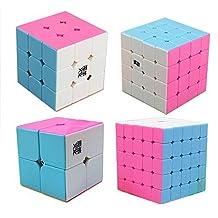 Qm-h Set 4 Pieces Yj Moyu 2x2x2 3x3x3 4x4x4 5x5x5 Classical Magic Cube Speed Stickerless Puzzle Lingpo Yulong Aosu Aochuang