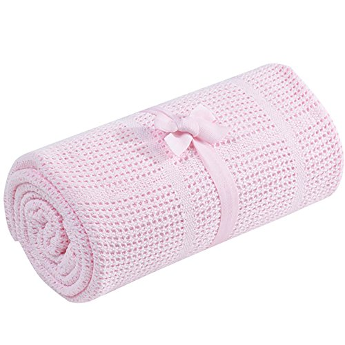 Meanhoo 27.5x35.4inch Baby Cotton Blanket , Air Conditioning Blanket Hollow Out Thread Blanket for Baby Boys Girls and Stroller(random