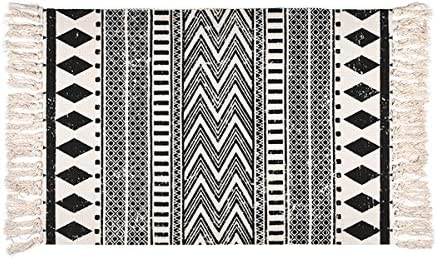 Bohemian Area Rug, Black and Cream White Geometric Runner Rug, 2 x 3 ft Cotton Braided Rug with Tassels, Vintage Washable Rugs for Kitchen Floor Living Laundry Room