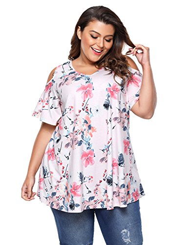 a1b2b7483fcb ACKKIA Women's Plus Size Floral Print Cold Shoulder Short Sleeve T Shirt  Tops