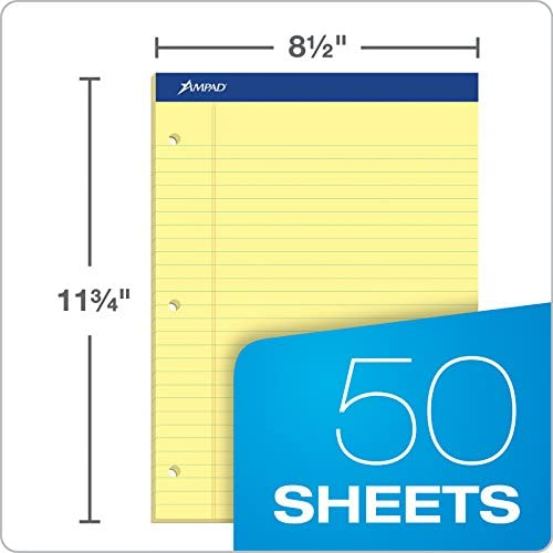 50 Sheets Canary 8.5 x 11.75 Wide Ruled Ampad Writing Pads 2 hole drilled TOP20-221