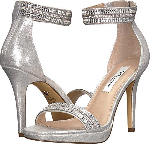 Nina Metallic Heels (NINA Women's Aubrie True Silver Reflective Suedette 8.5 M US)