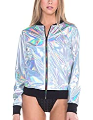 iHeartRaves Womens Sparkle Sequin Bomber Zip-up Jacket Coat