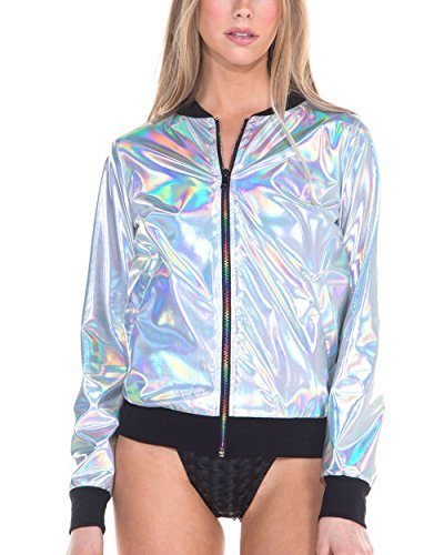 iHeartRaves Opal Silver Hologram Metallic Bomber Zip-Up Jacket (Small)
