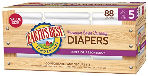 Earth's Best TenderCare Chlorine-Free Diapers, Fragrance Free, Size 5, Weight 27+ lbs, 88 Count Chlorine Free Training Pants