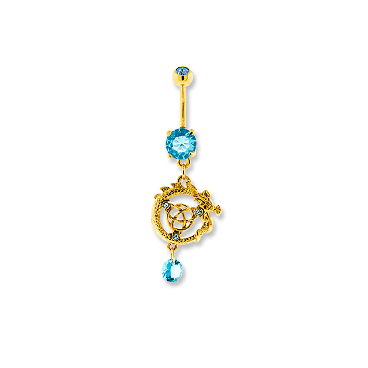 Gold Norse Dragon Knot with Aqua CZ Dangle Belly Navel Ring Body Jewelry