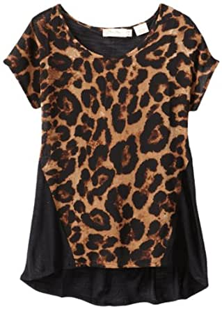 Miss Me Big Girls' Cheetah Print High Low Shirt with Stud Detail, Black/Camel, X-Large