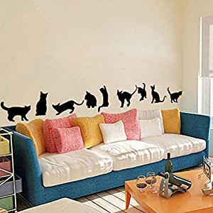 9 Cute Cats Playing Wall Stickers Room Decoration. 3D Diy Vinyl Adesivos De Paredes Home Decals Animals Mural Art Poster 4.0^.