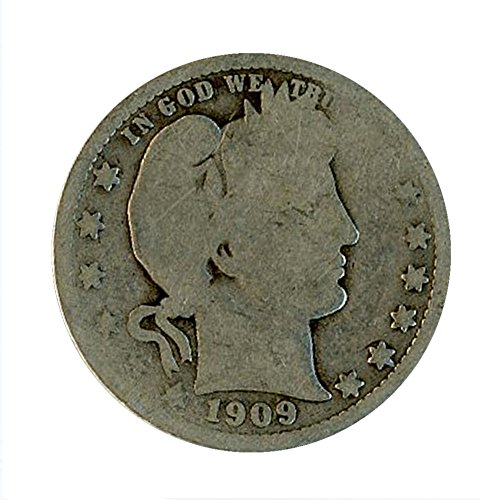 1909 P Silver Barber Quarter 25C About Good (1909 Barber Quarter)