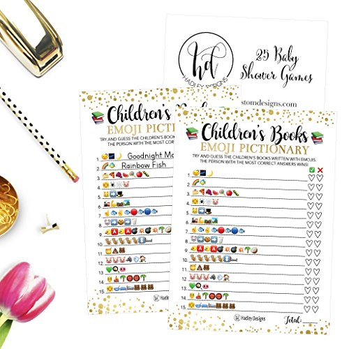 25 Emoji Children's Books Pictionary Baby Shower Game Party Ideas For Quiz Boy, Girl, Kids, Men, Women and Couples, Cute Classic Bundle Pack Set, Gold Pink or Blue Gender Neutral Unisex Fun Coed Cards by Hadley Designs (Image #1)
