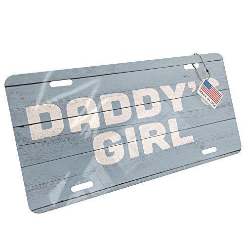 NEONBLOND Metal License Plate Daddy's Girl Father's Day Blue Vintage Wood ()