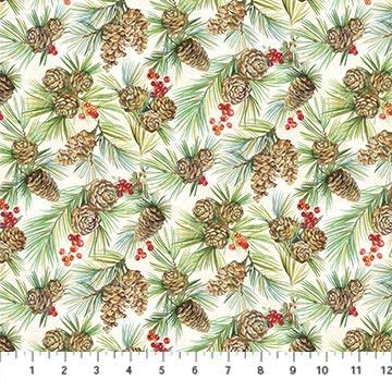 Deck The Halls~ Pine Cones and Berries Christmas Cotton Fabric by Northcott
