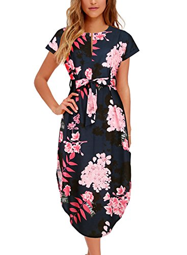 Women's Midi Dresses Side Slit Floral Print Loose Casual Long Dress with Belt BK318 (S, Black Floral)