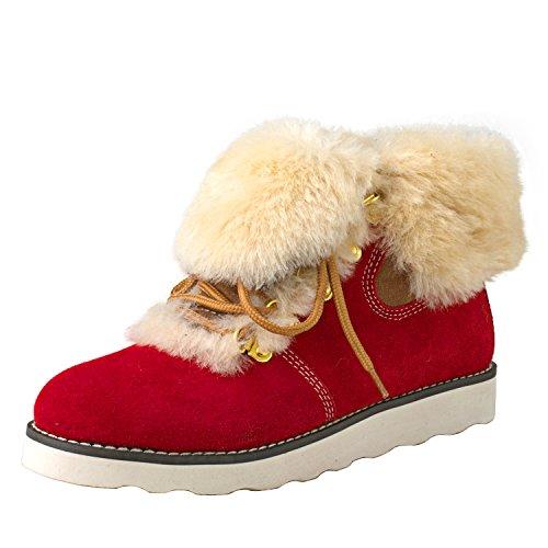 Shenduo Damen Stiefel Martin Schlupfstiefel Winterschuhe mit Schnürsenkel D9158 Rot