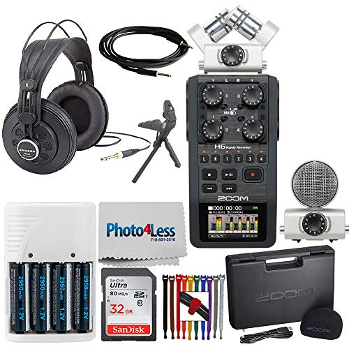 Zoom H6 Portable Recorder with Interchangeable Microphone System +SanDisk 32GB Card+ Tabletop Tripod + Instrument Cable + Studio Reference Headphones + 4 AA Batteries + Cleaning Cloth + Cable Strap