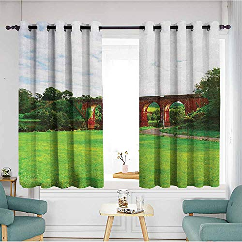 duommhome Landscape Bedroom Windproof Curtain Cloudy Day Stunning Scenery of Old Stone Bridge Over The River French Alps Home Garden Bedroom Outdoor Indoor Wall Decorations 55