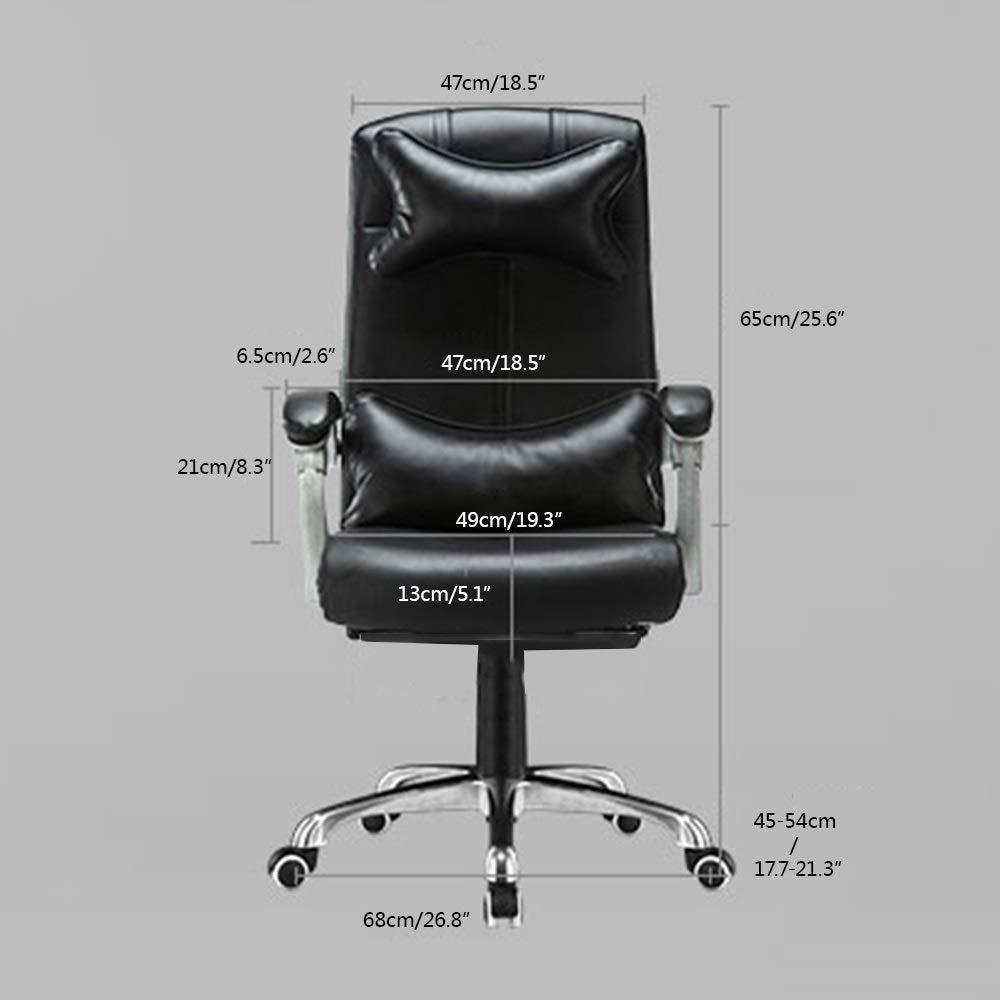 JIEER-C stol läder dator skrivbord stol justerbar höjd liggande kontorsstol ergonomisk personalstol med nackstöd och ryggstöd, mjölkvit Svart