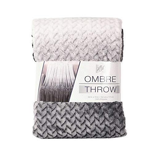 Life Comfort Throw Blanket Black/Gray 60 by 70 inches Super Soft Jacquard Ombre (Best Life Blankets)