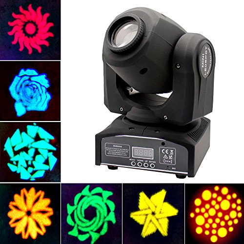 JUDYelc Pocket Spot Gobos Mini Moving LED Head Light 4 Color Light 30W with 9/11 Channel 8 Gobos Effect for Party Disco DJ Show KTV Christmas Celebration Light