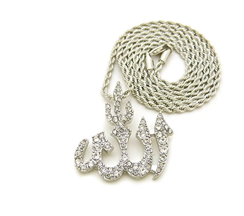Arab Costume Jewellery (Iced Out Arabic Allah Pendant 24