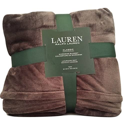 Lauren by Ralph Lauren Classic Micromink (Microfiber) Super Soft Bed Blanket/Throw - Charcoal Gray (Twin) for cheap