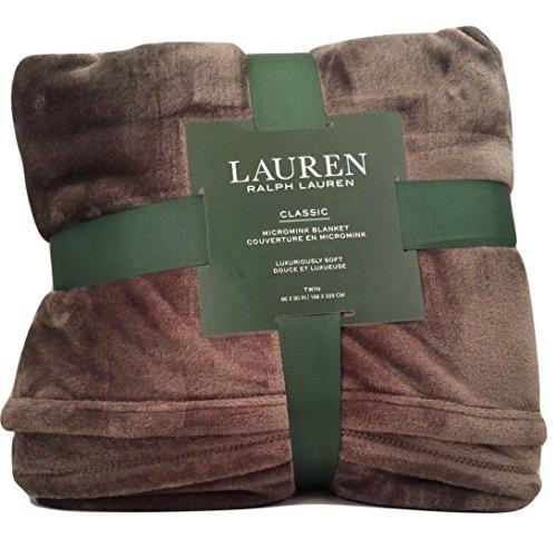 Lauren by Ralph Lauren Classic Micromink (Microfiber) Super Soft Bed Blanket/Throw - Charcoal Gray (Twin)
