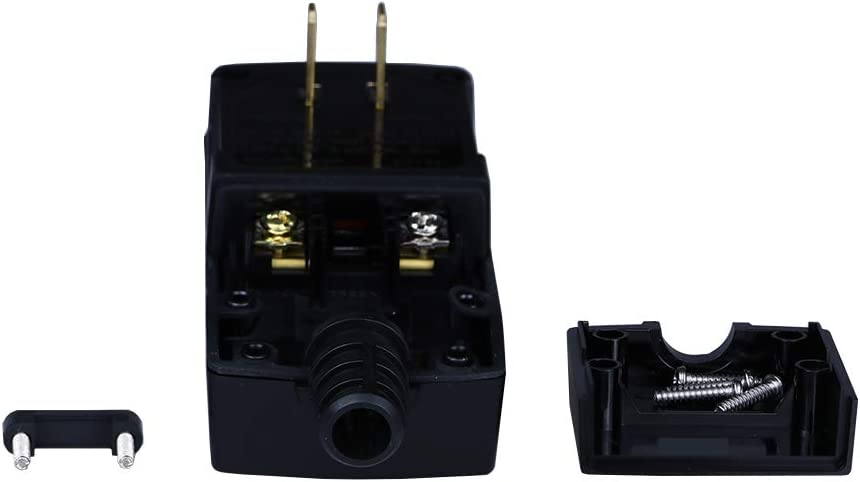 GFCI Replacement Plug Assembly 2 Prong Wires 15 Amp Waterproof Electrical Cord End Male GFI Circuit Breaker for Pool Pump Power Pressure Washer and More