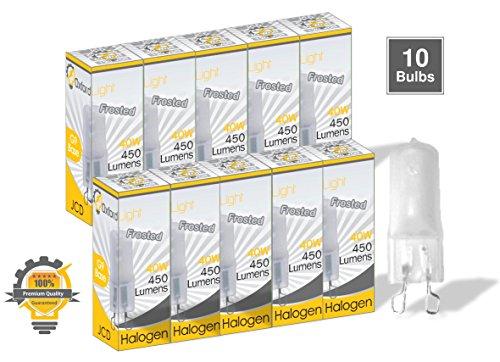 Oxford Light OL99942 (10 Pack) G9 120V 40W JCD Type, Frosted, Halogen Light Bulb, Bi Pin Halogen Lamp, 40 Watt 120 Volt ()