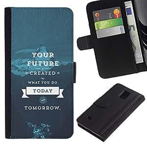 YiPhone /// Tirón de la caja Cartera de cuero con ranuras para tarjetas - SU SABIDURÍA VIDA FUTURA - Samsung Galaxy Note 4 IV