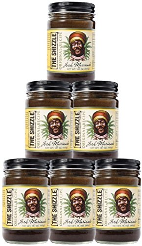 - The Shizzle Original Jerk Seasoning Marinade (Six Pack) - 14 Ounce Jar - Authentic Island Flavor w/ Pineapple Base - Traditional Rub - Sauce for Chicken, Pork, Etc